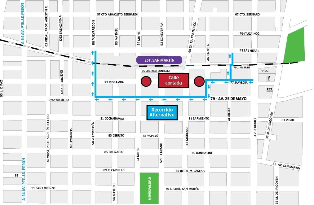 Mapa de corte y recorrido alternativo