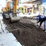 Se realizan obras de bacheo y hormigón en el centro de San Martín