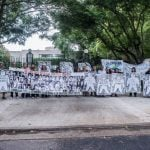 Manifestación frente a la casa de Ernestina Herrera de Noble