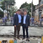Gustavo Posse y Jorge Macri supervisaron las obras en la calle Paraná